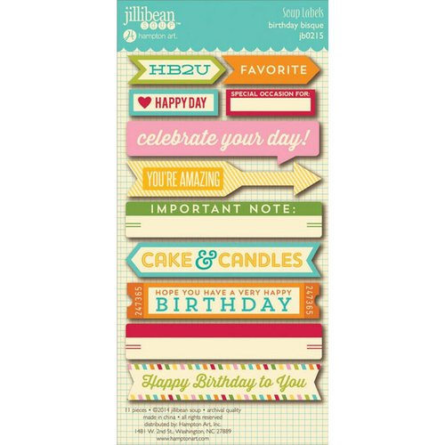 Jillibean Soup - Birthday Bisque Collection - Cardstock Stickers - Soup Labels