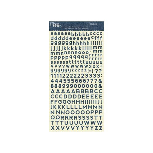 Jillibean Soup - Alphabeans Collection - Alphabet Cardstock Stickers - Diced Denim
