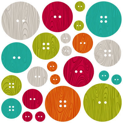 Jillibean Soup - Neapolitan Bean Bisque Collection - Chipboard Buttons with Epoxy Accents
