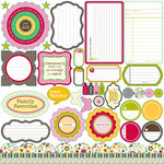 Jillibean Soup - Chilled Strawberry Soup Collection - Pea Pods - 12 x 12 Die Cut Paper - Shapes