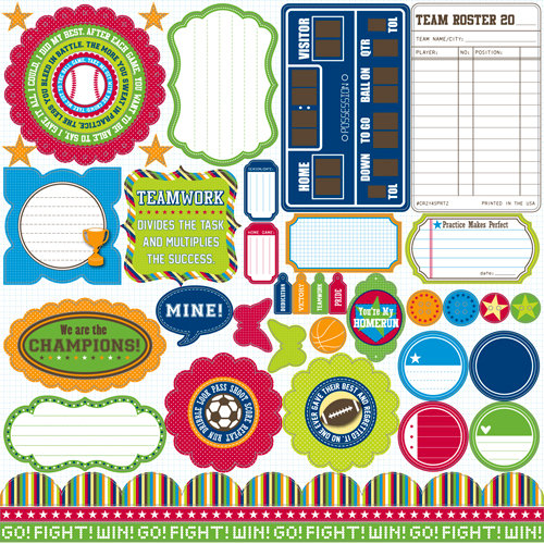 Jillibean Soup - Game Day Chili Collection - Pea Pods - 12 x 12 Die Cut Paper - Shapes
