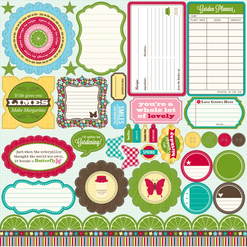 Jillibean Soup - Coconut Lime Soup Collection - Pea Pods - 12 x 12 Die Cut Paper - Shapes