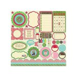 Jillibean Soup - Winter Tortellini and Spinach Soup Collection - Pea Pods - 12 x 12 Die Cut Paper - Shapes