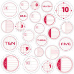 Jillibean Soup - Journaling Sprouts Collection - Mixed Cardstock Pieces - Circle Numbers Red, CLEARANCE