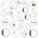 Jillibean Soup - Journaling Sprouts Collection - Mixed Cardstock Pieces - Circle Numbers Brown , CLEARANCE
