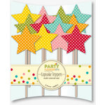 Jillibean Soup - Party Playground Collection - Cupcake Toppers - Multi Colored Star