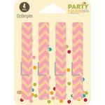 Jillibean Soup - Party Playground Collection - Clothespins - Cotton Candy Pink Chevron