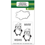 Hampton Art - Designer Die and Clear Acrylic Stamps Set - Christmas - Penguin