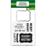 Hampton Art - Designer Die and Clear Acrylic Stamps Set - Christmas - Chalkboard Labels