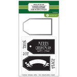 Hampton Art - Designer Die and Clear Acrylic Stamps Set - Christmas - Tag