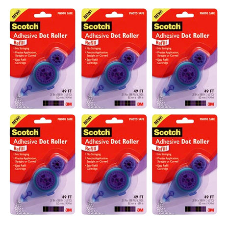 Scotch - Adhesive Dot Roller - Permanent - Dots Roller Refill - 49 Feet - Six Pack Bargain Pack