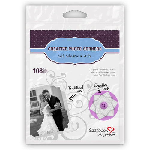 3L Scrapbook Adhesives - Photo Corners - Classic Style  (White - 126 per bag)
