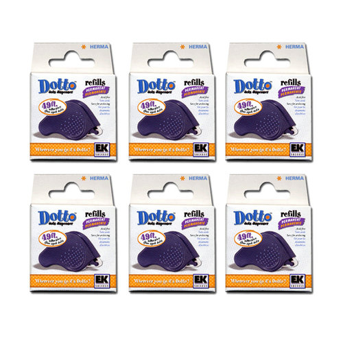 Herma Dotto Dots Permanent  Adhesive Refill - The 6 Pack Bargain Pack
