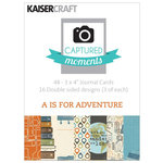 Kaisercraft - Captured Moments Collection - 3 x 4 Double Sided Journal Cards - A is for Adventure