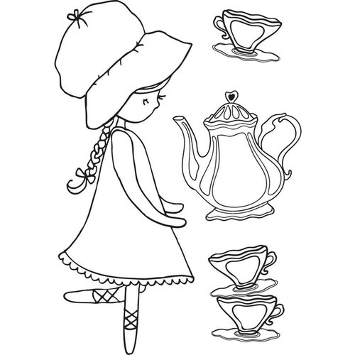 Kaisercraft - Lil' Primrose Collection - Clear Acrylic Stamp - Tea Time
