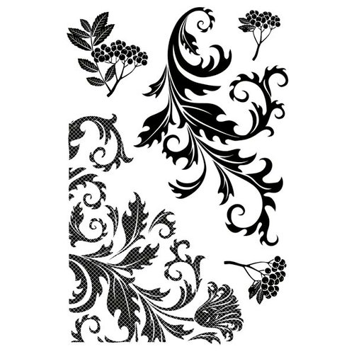 Kaisercraft - Twig and Berry Collection - Christmas - Clear Acrylic Stamp - Flourish