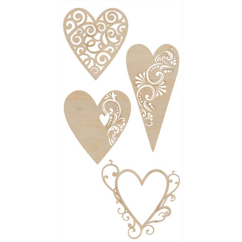 Kaisercraft - Flourishes - Die Cut Wood Pieces - Fancy Hearts
