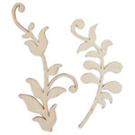 Kaisercraft - Flourishes - Die Cut Wood Pieces - Lilac Leaves