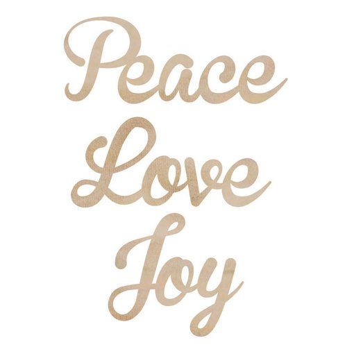 Kaisercraft - Flourishes - Die Cut Wood Pieces - Love, Peace, Joy