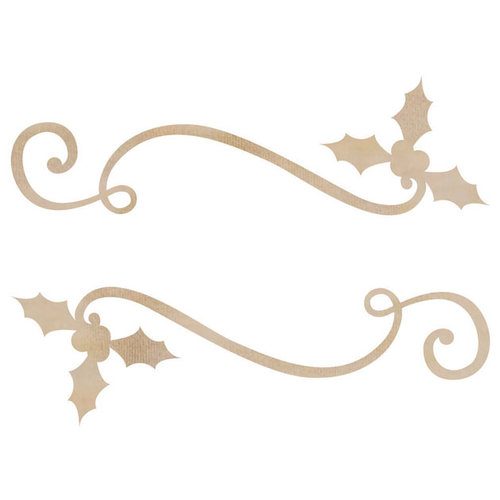 Kaisercraft - Flourishes - Die Cut Wood Pieces - Holly Ribbon