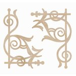 Kaisercraft - Flourishes - Die Cut Wood Pieces - Ornate Corners