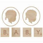 Kaisercraft - Flourishes - Die Cut Wood Pieces - Baby Face - Girl