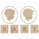 Kaisercraft - Flourishes - Die Cut Wood Pieces - Baby Face - Boy