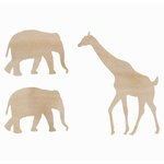 Kaisercraft - Flourishes - Die Cut Wood Pieces - Elephant and Giraffe