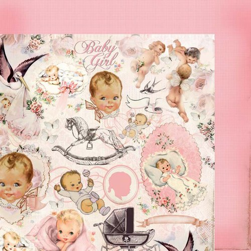 Kaisercraft - Bundle of Joy Collection - 12 x 12 Double Sided Paper - Crib