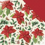 Kaisercraft - Home for Christmas Collection - 12 x 12 Double Sided Paper - Poinsettia