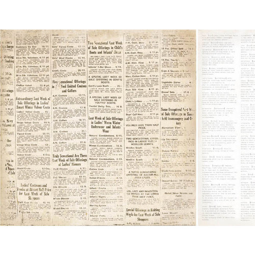 Kaisercraft - Timeless Collection - 12 x 12 Double Sided Paper - Newsprint