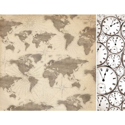 Kaisercraft - Timeless Collection - 12 x 12 Double Sided Paper - World Map