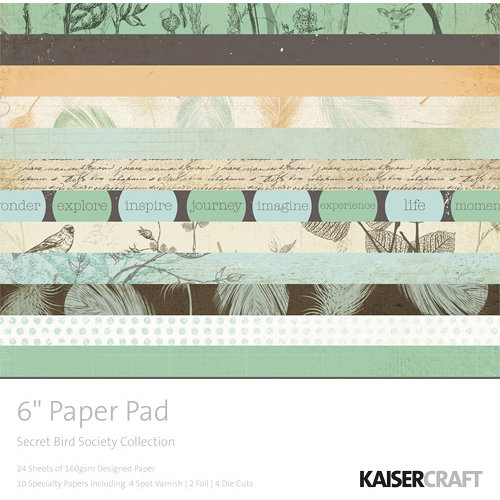 Kaisercraft - Secret Bird Society Collection - 6 x 6 Paper Pad