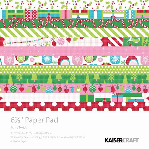 Kaisercraft - Mint Twist Collection - Christmas - 6.5 x 6.5 Paper Pad