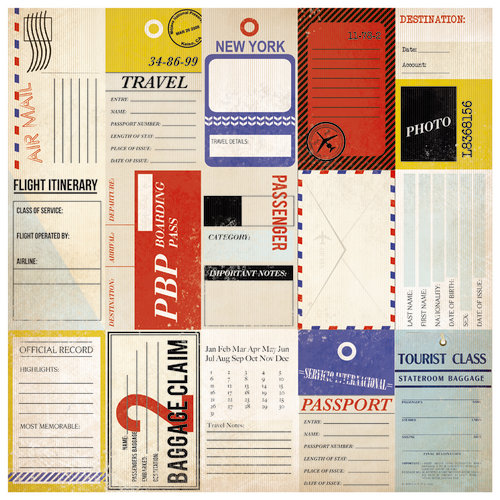 Kaisercraft - Check-in Collection - 12 x 12 Perforated Paper with Varnish Accents - Journey
