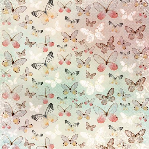 Kaisercraft - Enchanted Garden Collection - 12 x 12 Paper with Glitter Accents - Fly