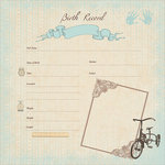 Kaisercraft - Pitter Patter Collection - 12 x 12 Paper with Glossy Accents - Birth Record Boy