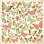 Kaisercraft - All That Glitters Collection - 12 x 12 Paper with Foil Accents - Golden Butterflies