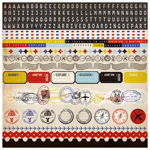 Kaisercraft - Check-in Collection - 12 x 12 Sticker Sheet - Borders