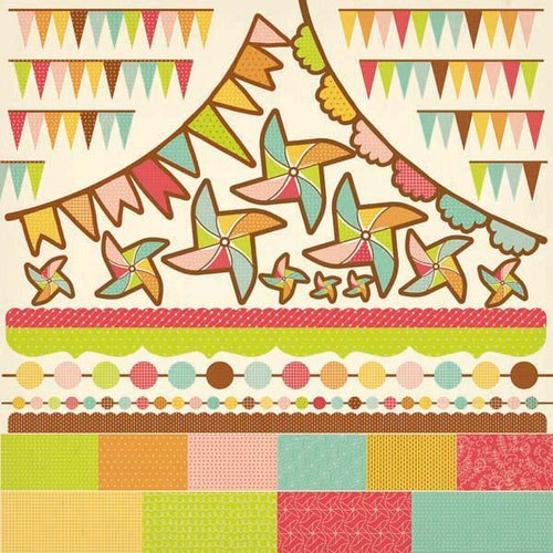 Kaisercraft - Save the Date Collection - 12 x 12 Sticker Sheet - Pennants