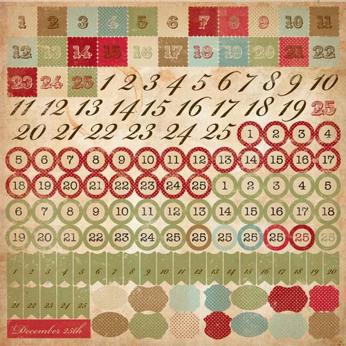 Kaisercraft - Turtle Dove Collection - Christmas - 12 x 12 Sticker Sheet - Numbers