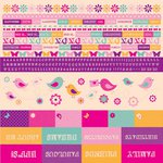 Kaisercraft - Butterfly Kisses Collection - 12 x 12 Sticker Sheet