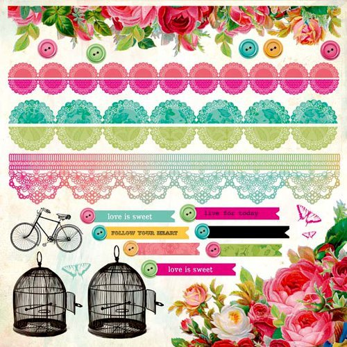 Kaisercraft - Secret Admirer Collection - 12 x 12 Cardstock Sticker Sheet - Borders