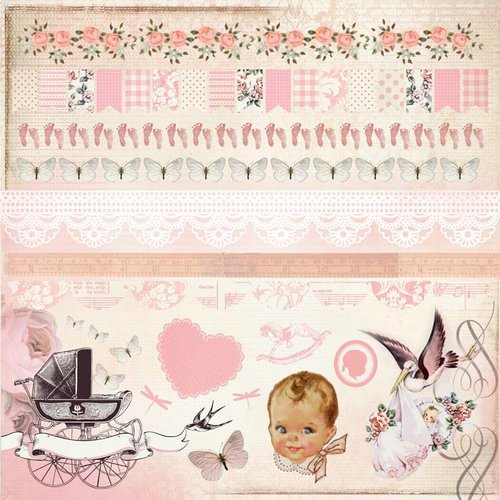 Kaisercraft - Bundle of Joy Collection - 12 x 12 Sticker Sheet - Girl