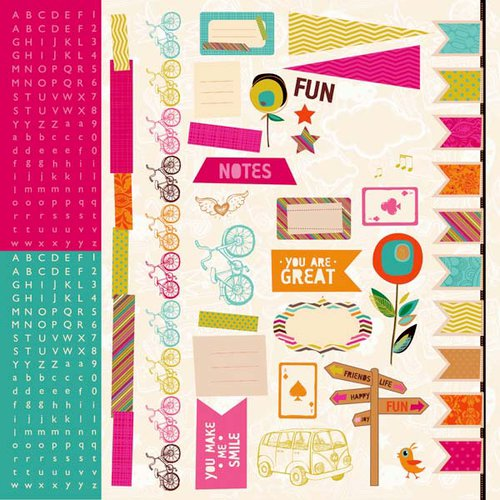 Kaisercraft - Hopscotch Collection - 12 x 12 Sticker Sheet