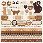 Kaisercraft - Furry Friends Collection - 12 x 12 Sticker Sheet - Cat
