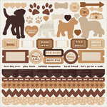 Kaisercraft - Furry Friends Collection - 12 x 12 Sticker Sheet - Dog
