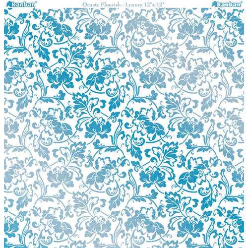 Kanban Crafts - Crystal Collection - 12 x 12 Glittered Acetate - Ornate Flourish - Blue