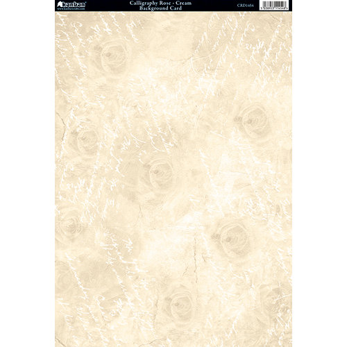 Kanban Crafts - Victoriana Blossom Collection - 8 x 12 Patterned Cardstock - Calligraphy Rose - Cream