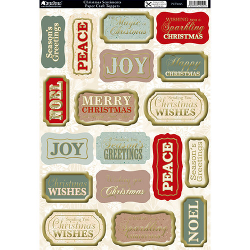 Kanban Crafts - The Christmas Collection - Die Cut Punchouts with Foil and Glitter Accents - Sentiments